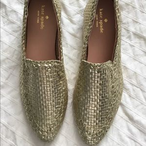 Kate Spade Gold Weave Loafers Size 8
